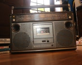 SANYO (1979) Boombox Tested Radio Works Cassette does not with Headphones Jack Vintage 1980s Ghetto Blaster