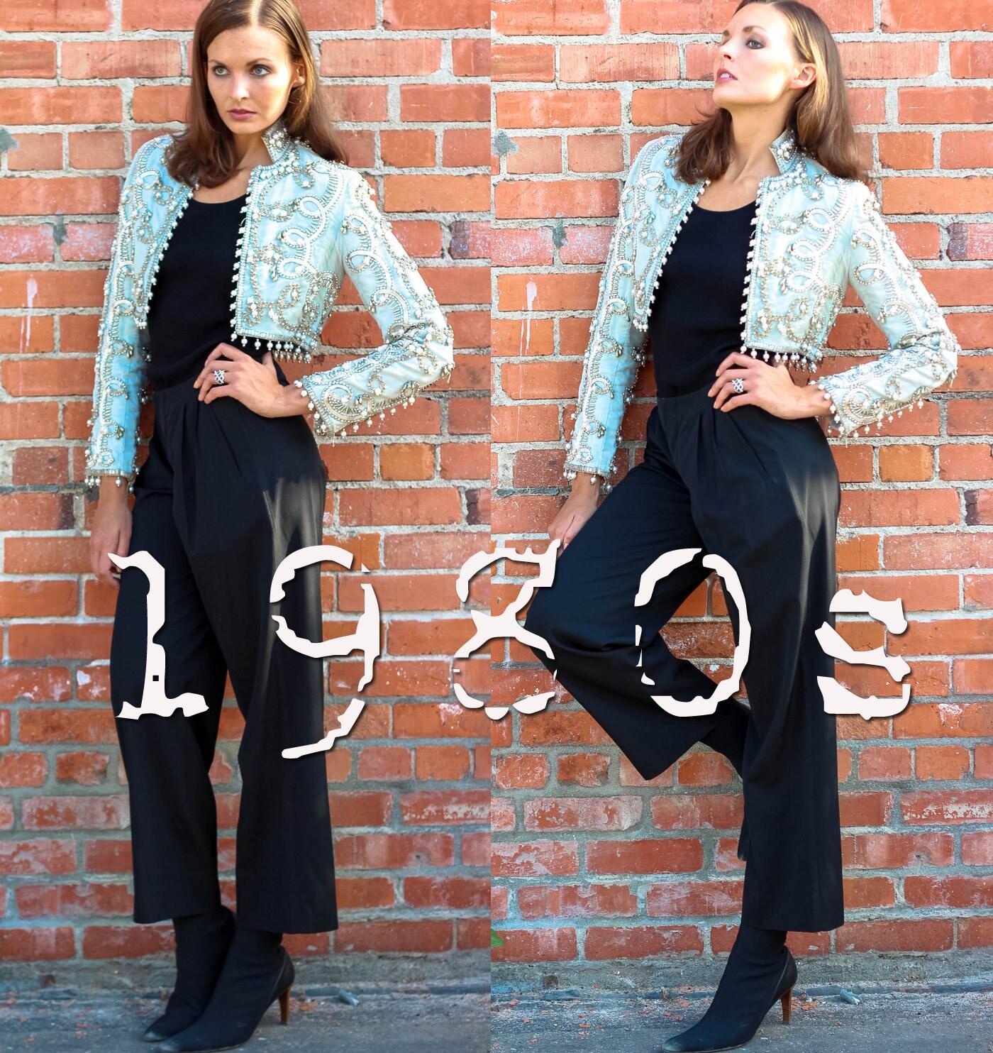80s Dresses   Casual to Party Dresses Valentino Garavani Pants Vintage 1980S-1990S Studio V Women Straight Dress-Pants Size M $34.95 AT vintagedancer.com