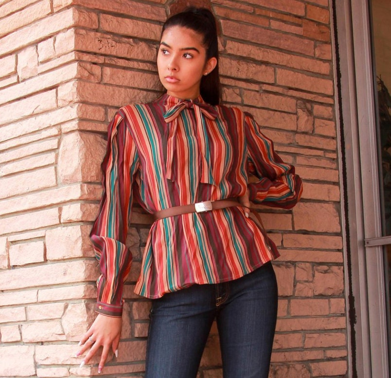 80s Dresses   Casual to Party Dresses Bill Haire Big Stripe 80S Blouse Top Women Vintage 1980S Psychedelic Western Hillbilly Wrangler Dress Blouse Size M $34.95 AT vintagedancer.com