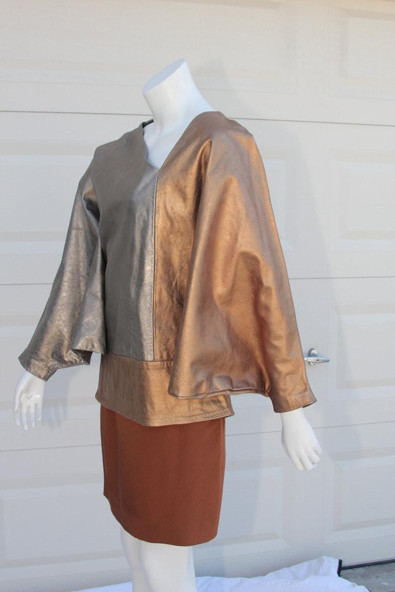DISCO Shawl Cloak Mantel Custom Couture GoldCopperPewter Metallic Disco Asymmetrical Jacket Cape Disco Roller Skate