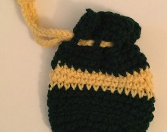 Mini Coin Pouch , green and gold