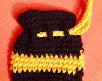Mini coin pouch, black and gold