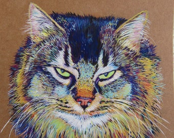 Custom pet portrait, Vibrant, colourful, contemporary, animal art, commission, dog, cat, recycled card