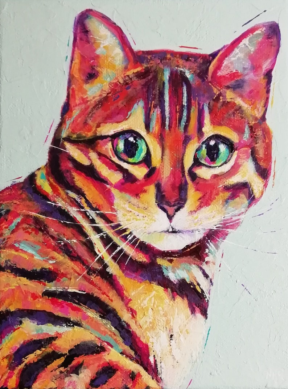 Custom Pet portrait colourful contemporary acrylic painting image 0