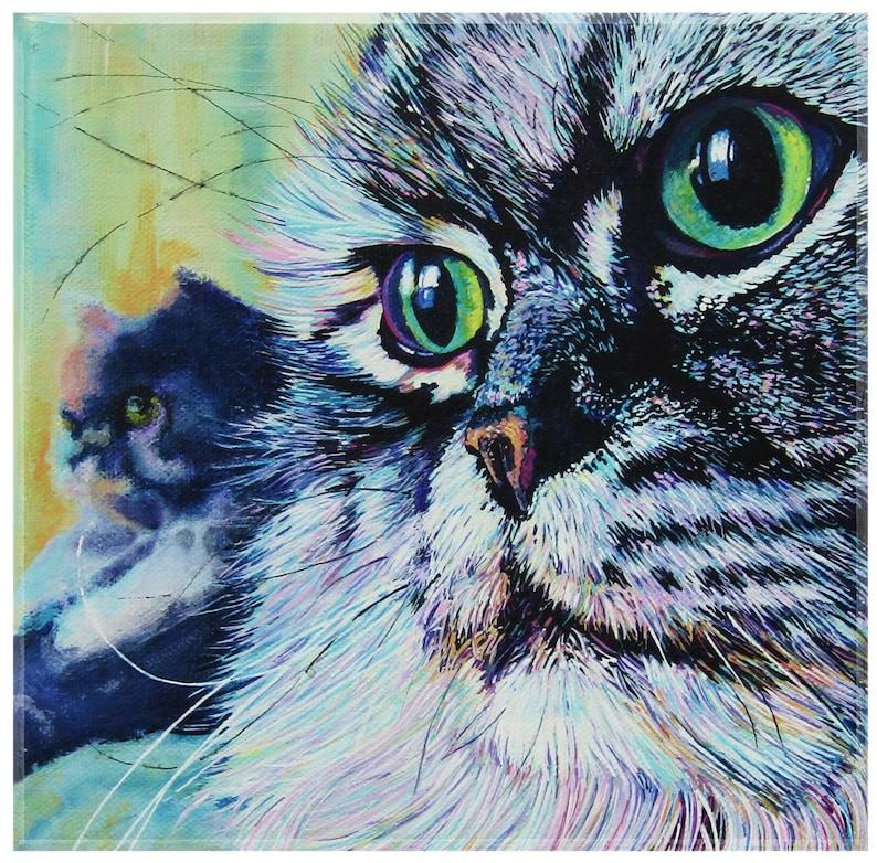 Custom pet portrait Vibrant colourful contemporary animal image 0