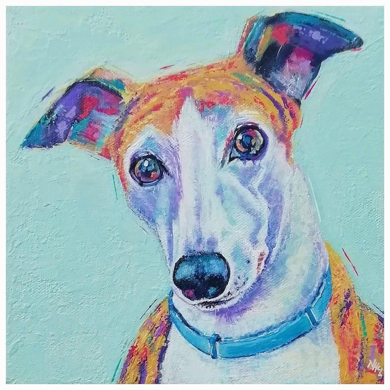 Contemporary colourful custom pet portrait dog cat image 0