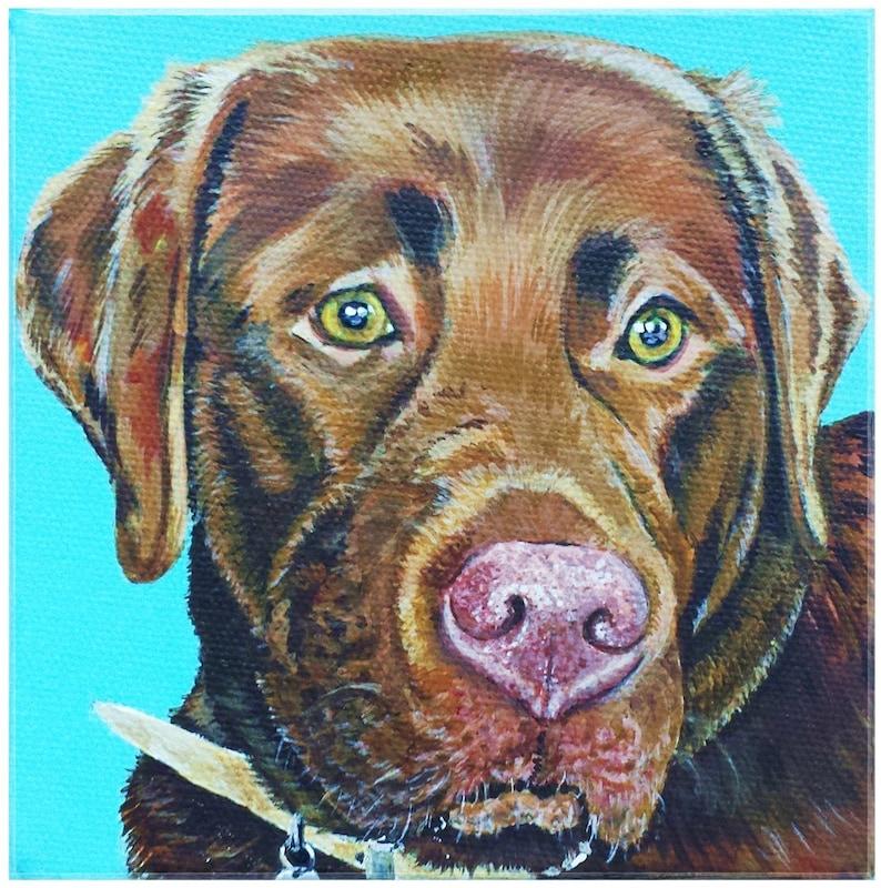 Custom hand painted original art pet portrait OOAK image 0