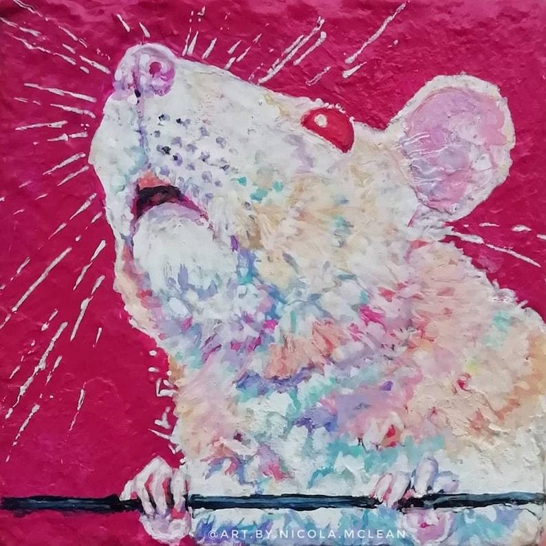 Contemporary colourful custom pet portrait rat dog cat image 0