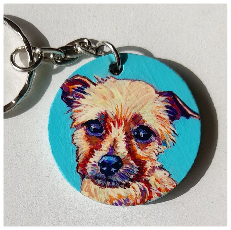 OOAK Custom Hand painted pet portrait keyring pet memorial image 0