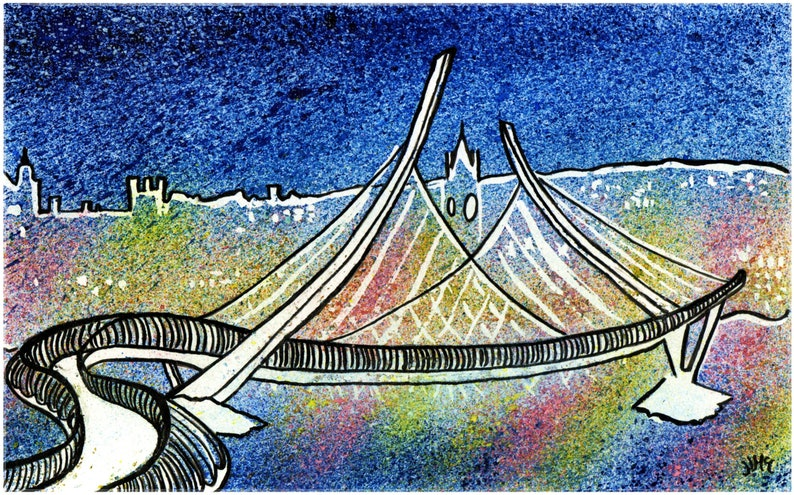 Quirky colourful paint spatter print of Peace Bridge in image 0