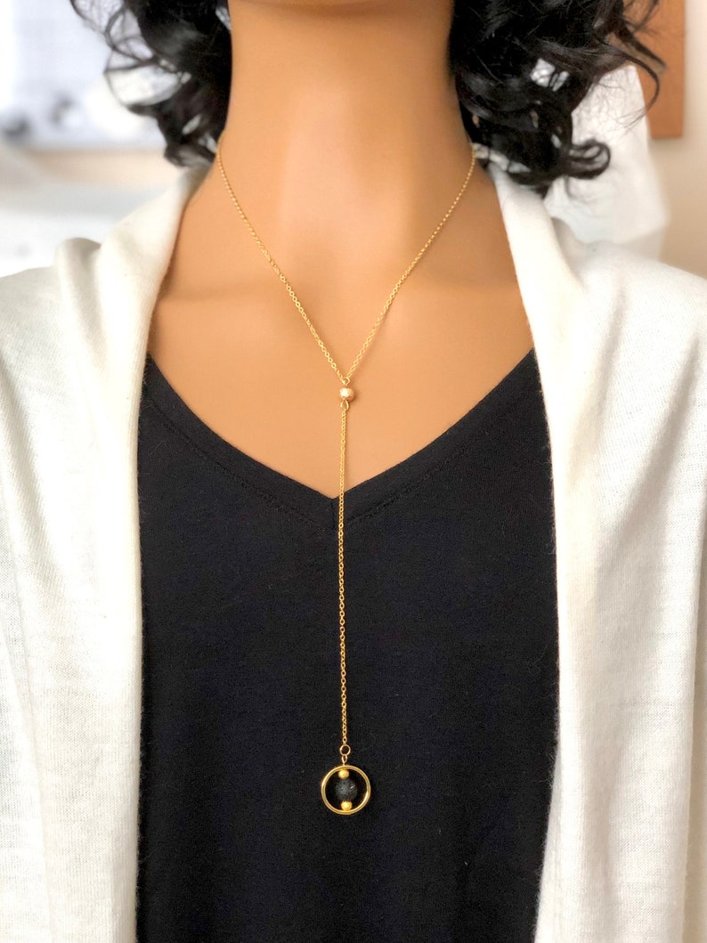 Essential Oil Diffuser Necklace for Aromatherapy. Gold Lariat Necklace