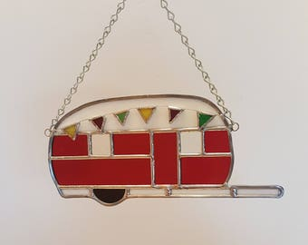 Camper with Flags Stained Glass Suncatcher