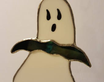 Ghost with Bat Stained Glass Suncatcher