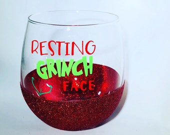 GLITTER DIPPED   Resting Grinch Face Stemless Red Wine Glass