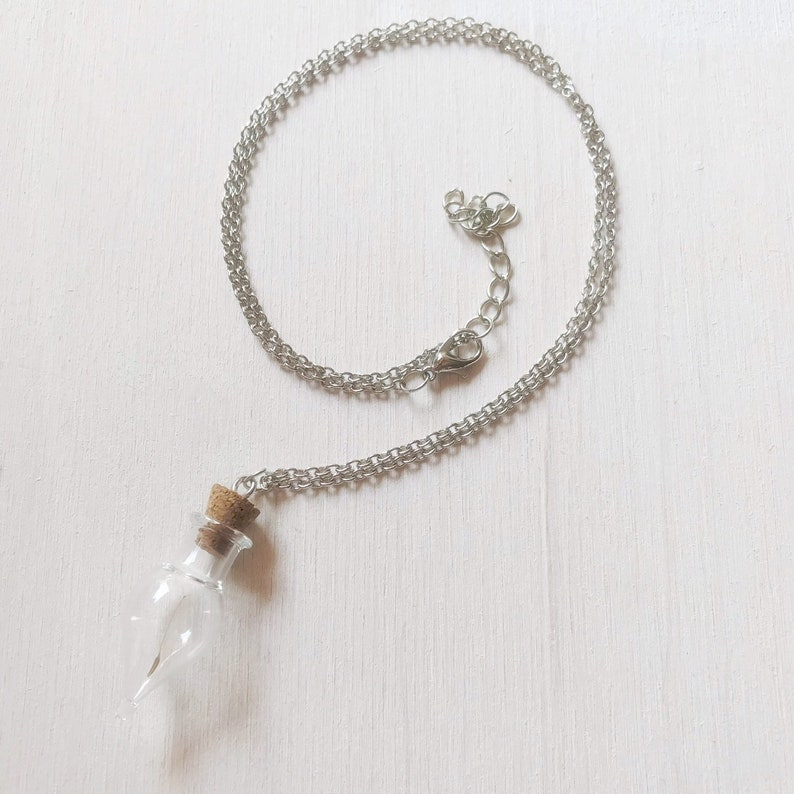 Elegant silver colored necklace with glass bottle filled with Paardebloemzaadjes