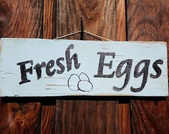 Fresh Eggs Rustic Wood Sign | rustic farm decor | Farm sign | Farm decor | rustic kitchen decor | Chicken decor | rustic chicken decor