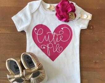 Cutie Pie Onesie/Valentine's Day Onesie T-Shirt/Baby Girl Onesie/Multiple Sizes Available