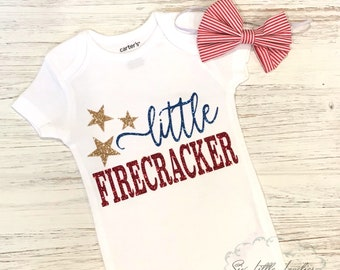 08e75bfe1d3a Adorable Little Firecracker Bodysuit Glitter 4th of July Outfit Baby  Girl Patriotic Bodysuit