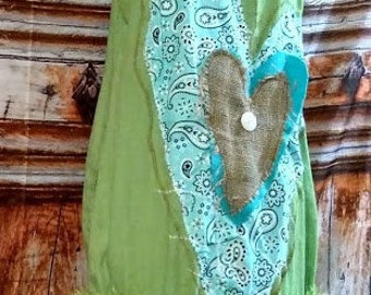 "Sale...Three hearts""""small tunic 34""chest upcycled heart green blue Shabby"