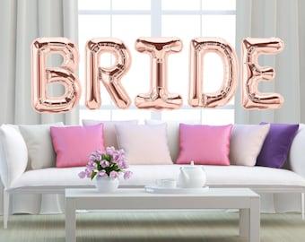 "BRIDE Gold Balloons - 40"" Giant Gold Balloons - Bridal Shower Balloons"