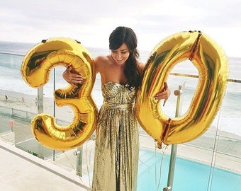 "Giant gold Number 30 Balloons- 40"" Gold 30 Balloons- 30th Birthday Balloons- Gold Balloon Number 30- Big Gold Balloons"