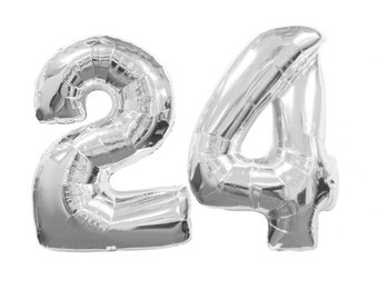 """Number 24 GIANT Silver Balloons - 40"""" 24 Silver Balloon"""