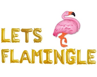 "LETS FLAMINGLE 16"" Gold Letter Balloons - Hawaiian Bachelorette Theme Party - Flamingo Balloons"