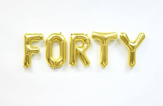 Metallic Letter Balloons FAB FORTY Letter Balloons Gold Party Decorations 16 Gold Letter Balloons