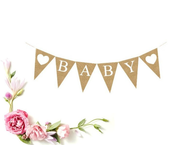 wall backdrop main table banner BABY Vintage Banner Gender Reveal baby announcement banner BABY Burlap Banner Baby shower