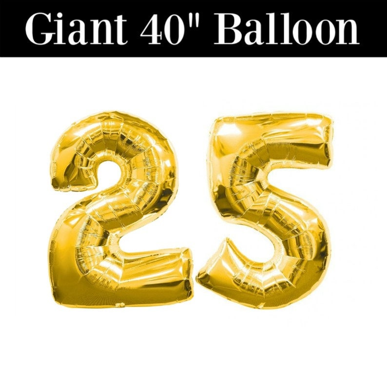 Number 25 GIANT Gold Balloons 40