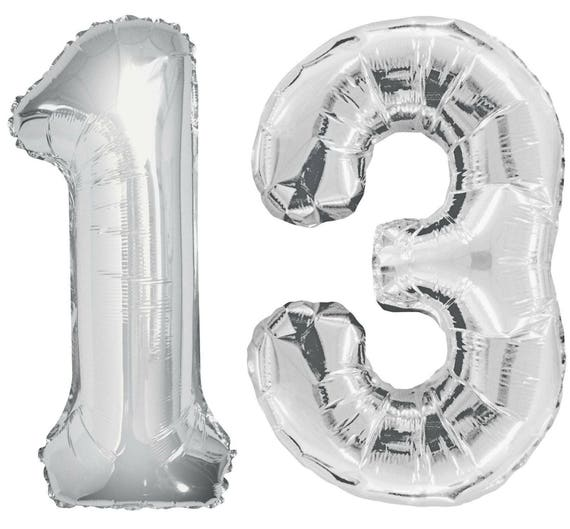 Number 13 Giant 40 Silver Balloons 13th Birthday Jumbo