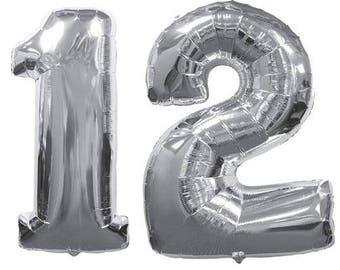 "Number 12 Giant 40"" Silver Balloon - Number 12 Silver Balloons - 12th Birthday Balloons"