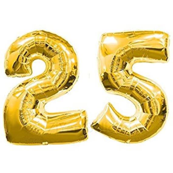 Number 25 Giant 40 Gold Balloons 25th Birthday Jumbo