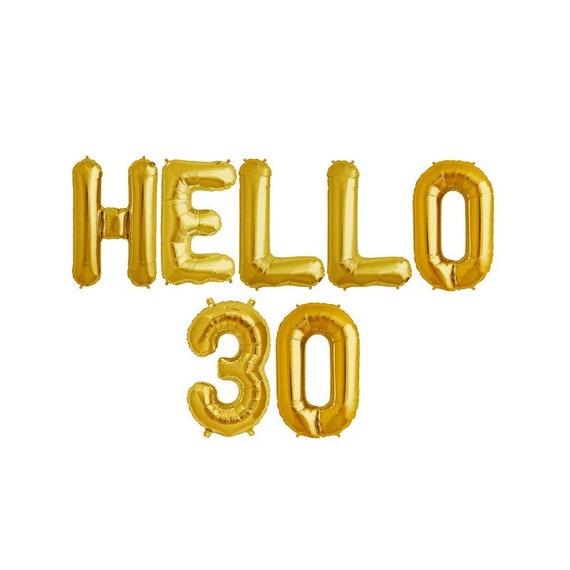 16 Gold Letter Balloons HELLO 30 Gold Letter Balloons 30th Birthday Balloons