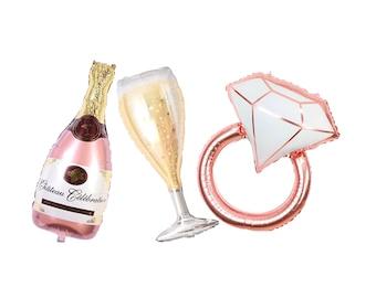 Diamong ring balloon rose gold, champagne rose gold balloon, Jumbo balloons, Champagne glass balloons, bachelorette balloons, bridal shower