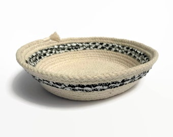 Rope basket, storage container, rope bowl, coiled natural rope, natural cotton, home decor, jewelry dish, trinket tray, decorative