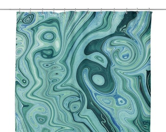 Green Marble Shower Curtain Mint Bathroom Decor Agate Modern Unique Bath