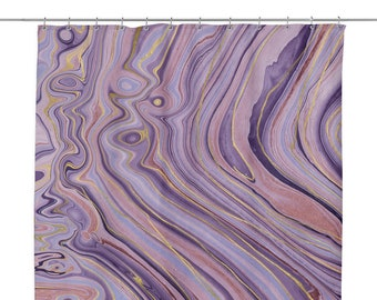 Marble Agate Stone Print Shower Curtain Purple And Gold Bathroom 70 X Chic Bath Ideas
