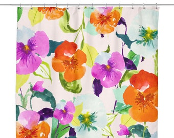 Floral Shower Curtain Watercolor Pansies 70 X Flower Bath Decor Pretty Unique