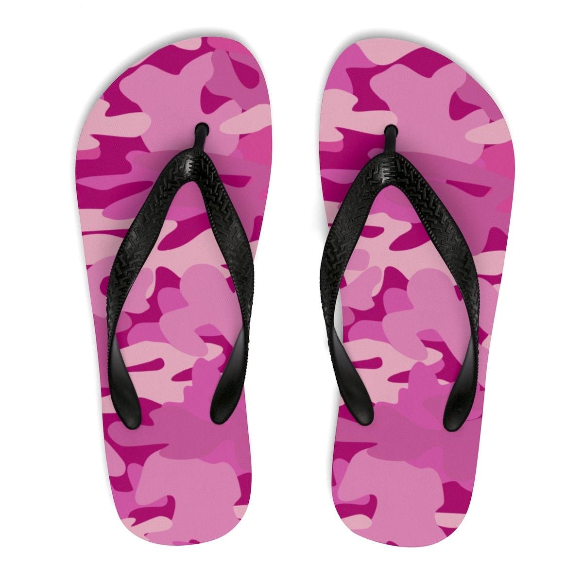 e166a484438b Pink Camo Flip Flops Camouflage Flip Flop Sandals Pink Cool