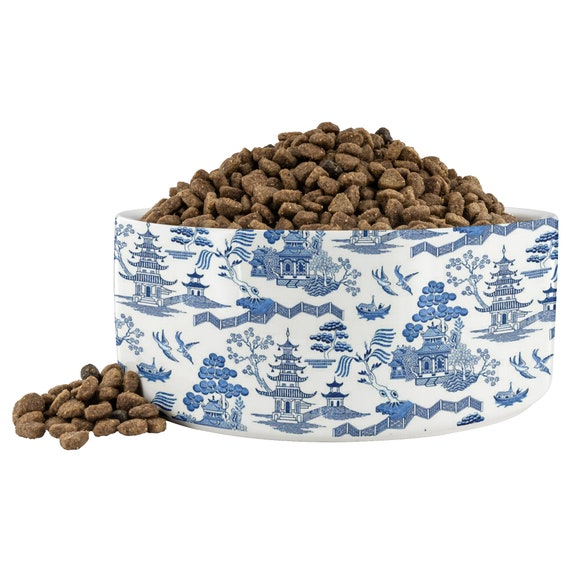 Asian Pottery Print Chinoiserie Ceramic Dog Bowl Large Dog Food Bowl Water Bowl for Pets Blue and White Pet Bowl Chinoiserie Pet Bowl