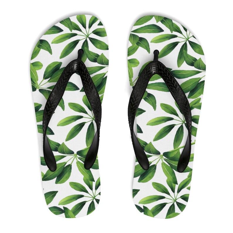224486dfdeebd Leafy Flip Flops, Tropical Leaves Flips Flops, Green White Flip Flops For  Women & Men, Stylish Flip Flops, Garden Fashion, Pretty Flip Flops