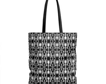 Tribal Print Tote Bag, Black and White Boho Chic Tote Bag, Bohemian Tote Bag, 18 X 18, Unique Grocery Bag, Cool Beach Bag, Reusable Shopping