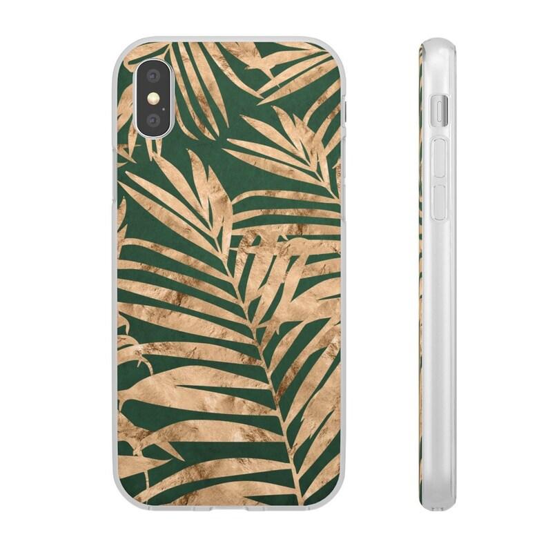 online store ec21c 3d1b5 Stylish iPhone Case, Palm Leaf Print Gold & Green iPhone 7, 7 Plus, iPhone  8, 8 Plus, iPhone X, iPhone XR, iPhone XS, iPhone XS Max