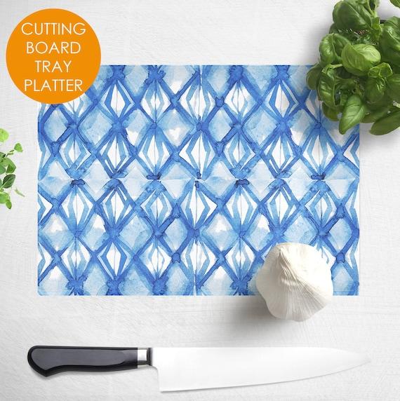 Boho Hostess Gift under 30 Unique Cutting Board Blue White Kitchen Tie Dye Shibori Chopping Board Decorative Glass Cutting Board