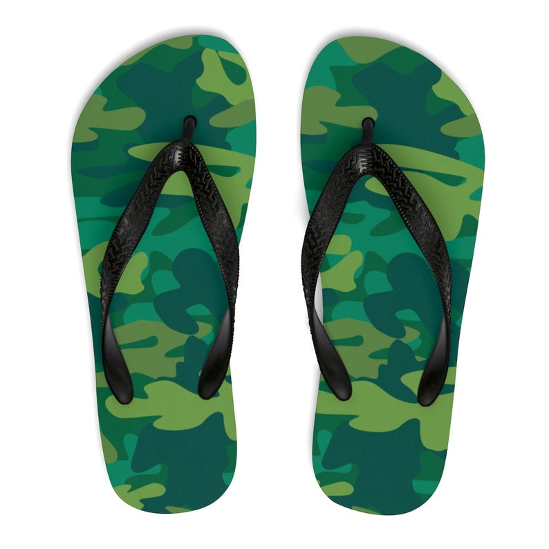 74a422590302 Camo Flip Flops Camouflage FlipFlops Lime   Army Green