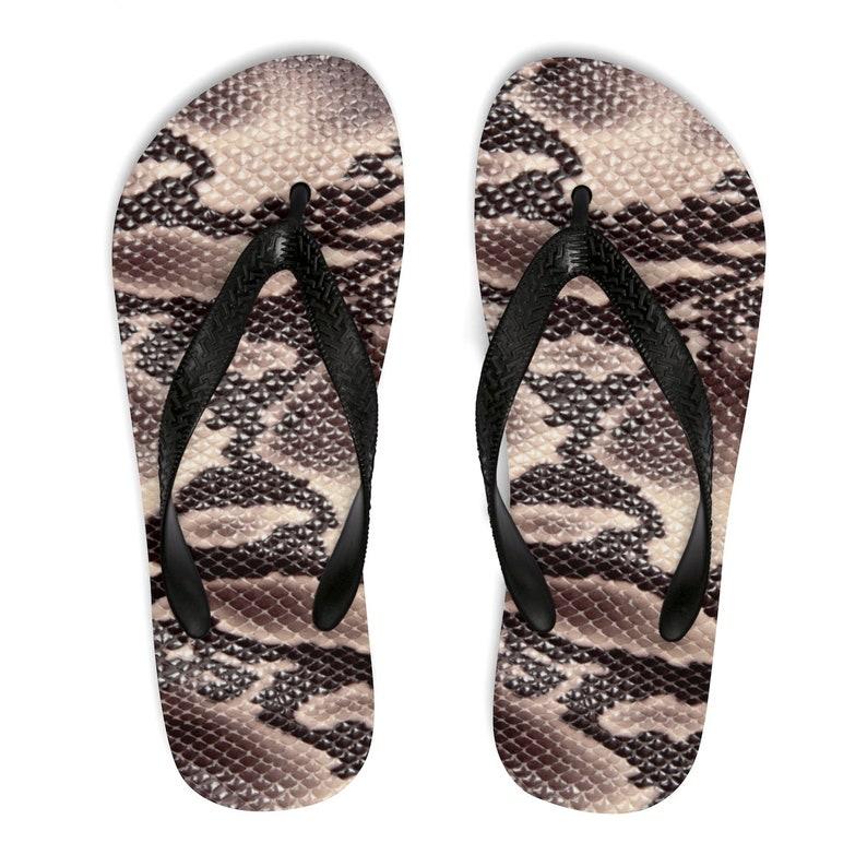 f705fd086e1f Snakeskin Print Flip Flops Brown Snake Print Flip Flops