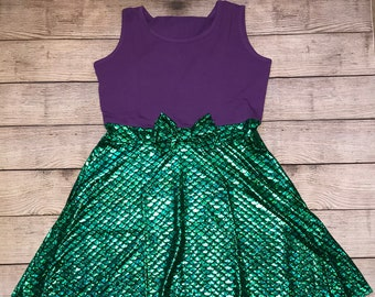 Ariel Womens Adult Size Princess Sleeveless Disney Character Inspired Dress Purple Green Scale Mermaid Mom and Me Outfit The Little Mermaid