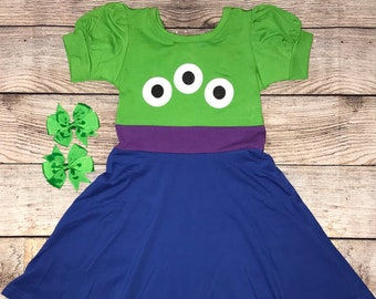 2cc4669910a Alien Toy Story Shortsleeve Disney Character Inspired Dress Puff Sleeve  Green Purple Blue Buzz Woody Claw Space Ranger Girls Outfit