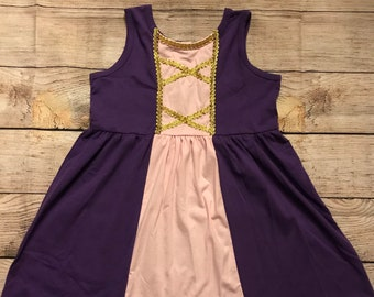 Rapunzel Tangled Princess Sleeveless Disney Character Inspired Dress Pink Purple Gold Detailing Girls Outfit Ready to Ship
